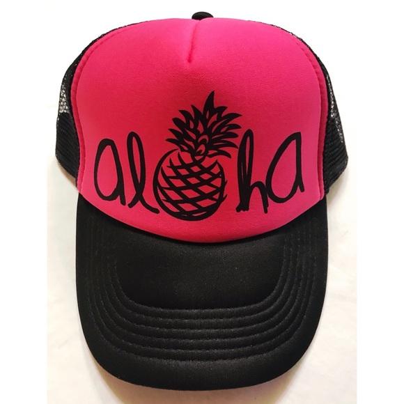 50cab4a4a9d17 Hawaiian Headwear Neon Pink ALOHA Soft Trucker Hat